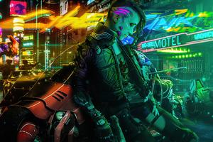 Cyberpunk Girl Biker New 2020