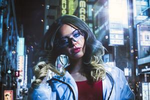 Cyberpunk Girl Blonde 4k Wallpaper
