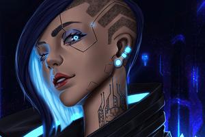 Cyberpunk Girl Blue 4k Wallpaper