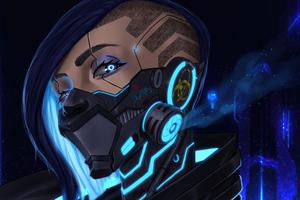 Cyberpunk Girl Blue Mask 5k