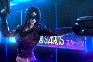 Cyberpunk Girl Gun 4k 2020