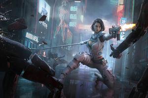 Cyberpunk Girl Hitting Man With Gun