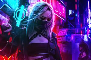 Cyberpunk Girl In Neon Mode 5k Wallpaper