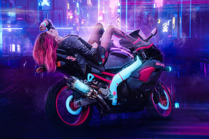 Cyberpunk Girl On Bike