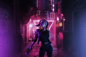 Cyberpunk Girl On Streets 4k Wallpaper