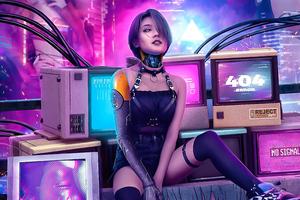 Cyberpunk Girl Retro Art 4k Wallpaper