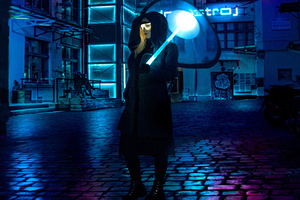 Cyberpunk Girl Umbrella 4k