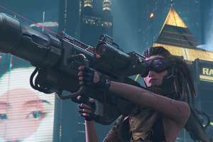 Cyberpunk Girl With Big Gun Wallpaper