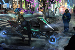 Cyberpunk Girl With Bike 4k Wallpaper