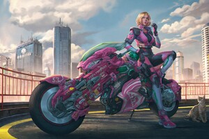 Cyberpunk Girl With Bike Cat Wallpaper