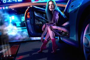 Cyberpunk Girl With Car4k Wallpaper