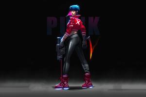 Cyberpunk Girl With Gun 4k 2020 Wallpaper