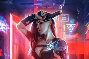 Cyberpunk Girl With Gun 4k