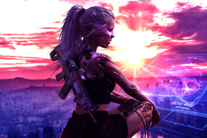 Cyberpunk Girl With Gun 4k Artwork