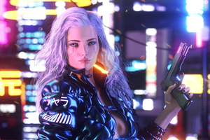 Cyberpunk Girl With Gun Artwork
