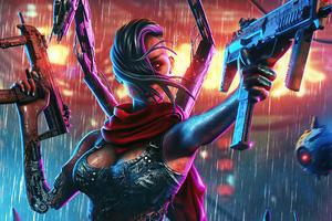 Cyberpunk Girl With Two Guns 4k