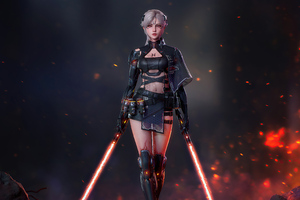 Cyberpunk Girl With Two Lightsaber Wallpaper