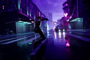 Cyberpunk Guy Sharp Swords Street Lights 4k
