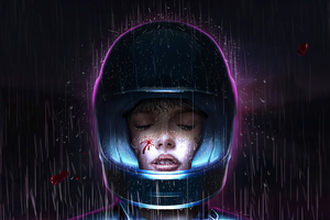 Cyberpunk Helmet Closed Eyes 4k