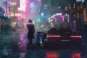 Cyberpunk Lamborghini Girl Alongside