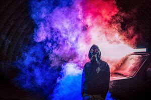 Cyberpunk Man Colorful Smoke Bomb