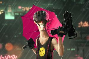 Cyberpunk Man Smile Gun