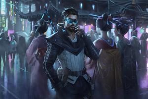 Cyberpunk Man Smoking Cigratte Wallpaper