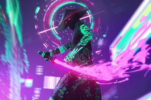 Cyberpunk Neon With Sword 4k