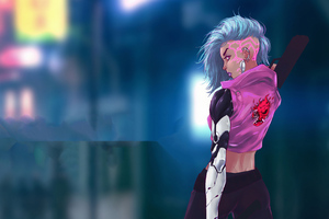 Cyberpunk Pink Hair Girl Wallpaper