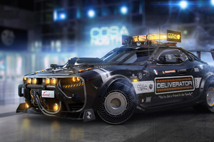 Cyberpunk Pizza Delivery Car 4k Wallpaper