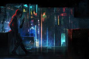 Cyberpunk Rain Town Man Standing