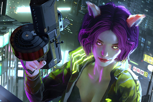 Cyberpunk Red Girl Glowing Eyes 5k Wallpaper