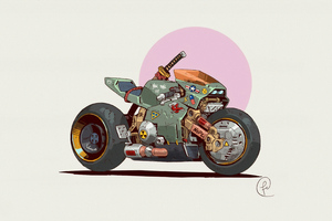Cyberpunk Retro Bike 4k Wallpaper