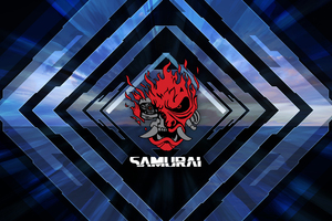 Cyberpunk Samurai Logo 4k Wallpaper
