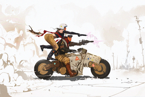 Cyberpunk Science Fiction Biker Art