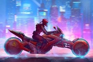 Cyberpunk Scifi Rider 4k
