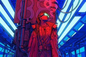 Cyberpunk Smoking Girl 4k