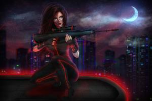 Cyberpunk Sniper Girl 4k