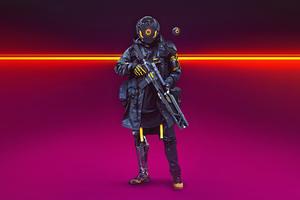 Cyberpunk Soldier Turbo Police 4k