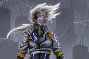 Cyberpunk Storm Girl 4k Wallpaper