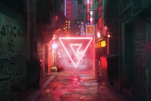 Cyberpunk Street Neon Abstract Triangle Art 5k Wallpaper