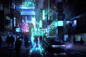 Cyberpunk Street Night 4k