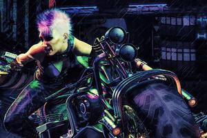 Cyberpunk Street Racer Girl Wallpaper