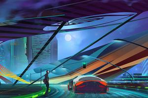 Cyberpunk Wave Car Wallpaper