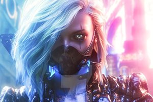 Cyberpunk White Hair Girl Wallpaper