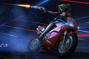 Cyborg Biker Girl Shooting 5k