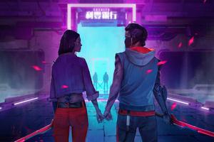 Cyborg Couple Wallpaper