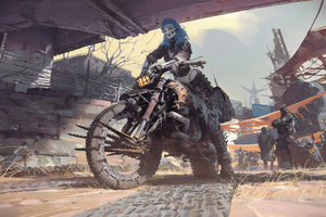 Cyborg Girl On Bike Wallpaper
