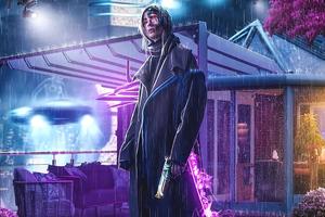 Cyborg Girl Rainy Night Wallpaper