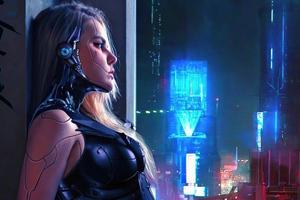 Cyborg Girl Wall Standing 4k